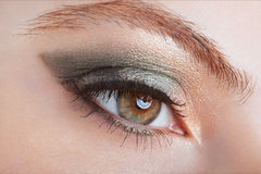 Woman, green eye smokey make up stock photography