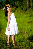 Woman on green filed Royalty Free Stock Photography