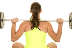 Woman green fitness tank top squat back close Stock Images
