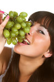 Woman with green grape Stock Photo