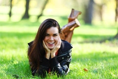 Woman on green grass Royalty Free Stock Photo