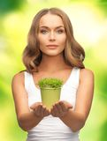 Woman with green grass in pot Royalty Free Stock Images