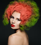 Woman with green hair royalty free stock image