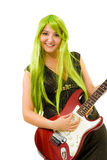 Woman with green hair and guitar. Woman with vivid color hair play guitar Royalty Free Stock Photo