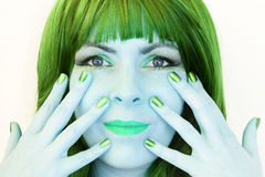 The woman with the green hair Stock Images