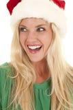 Woman green hat santa hat laugh Royalty Free Stock Image