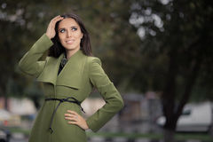 Woman in Green Jacket Outside Stock Photos