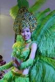 Woman in green jump samba Royalty Free Stock Photos