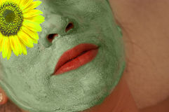 Woman With Green Mask On Face Royalty Free Stock Photo
