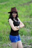 Woman at Green Rice Paddy Field Royalty Free Stock Photography