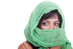 Woman with a Green Shawl Royalty Free Stock Photos