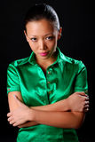 Woman in green shirt Royalty Free Stock Photo