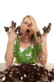 Woman Green Shirt With Cake All Over Stock Photos