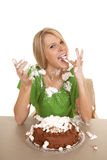 Woman green shirtt with cake lick cream Stock Photography