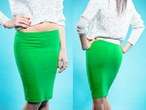 Woman in green skirt Royalty Free Stock Photography