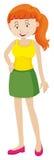 Woman in green skirt. Illustration Stock Image