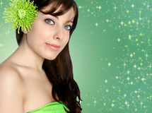 Woman in green spa Stock Photo