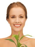 Woman with green sprout Royalty Free Stock Photography
