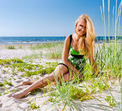 Woman in green sundress Royalty Free Stock Photo