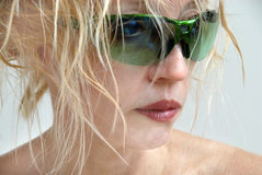 Woman in Green Sunglasses Royalty Free Stock Images