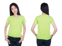 Woman in t-shirt isolated on white background Stock Photography