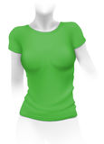 Woman green t-shirt template Stock Image