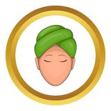 Woman with green towel on her head vector icon Royalty Free Stock Photography