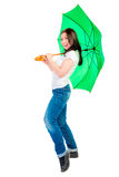 Woman with a green umbrella cane Stock Images
