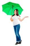 Woman with green umbrella Royalty Free Stock Photos