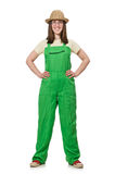 Woman in green uniform isolated on white. The woman in green uniform isolated on white Stock Images