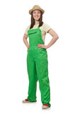The woman in green uniform isolated on white Stock Images