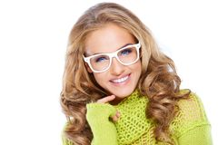 Woman in green warm sweater and white glasses Stock Image