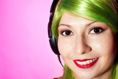 Woman in green wig smile Royalty Free Stock Photography