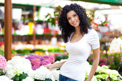 Woman in a Greenhouse Stock Photos