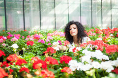 Woman in a greenhouse Stock Photography