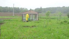 Woman greenhouse rain stock video footage