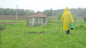 Woman greenhouse rain stock video