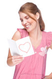 Woman with greeting card Royalty Free Stock Images