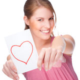 Woman with greeting card Stock Photography