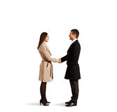 Woman greeting with friendly man Stock Photo