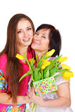 Woman greeting her mother Royalty Free Stock Photography
