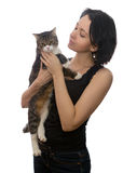 Woman and grey cat Stock Images