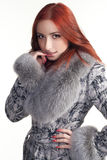 A woman in a grey coat. A portrait of a beautiful woman in a grey coat with fur Royalty Free Stock Image