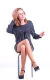 Woman in grey dress. Stock Photos