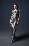 Woman in grey evening dress. Royalty Free Stock Photos