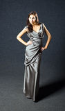 Woman in grey evening dress. Stock Photography