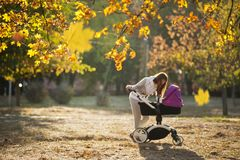 Woman In Grey Pants Holding Black And Purple Stroller stock images