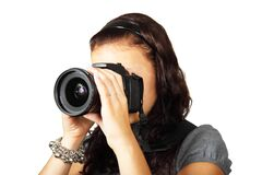 Woman in Grey Shirt Taking Picture With Dslr Camera Royalty Free Stock Image