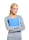 Woman hands folder with documents Royalty Free Stock Image