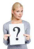Woman keeps paper with question mark Stock Images